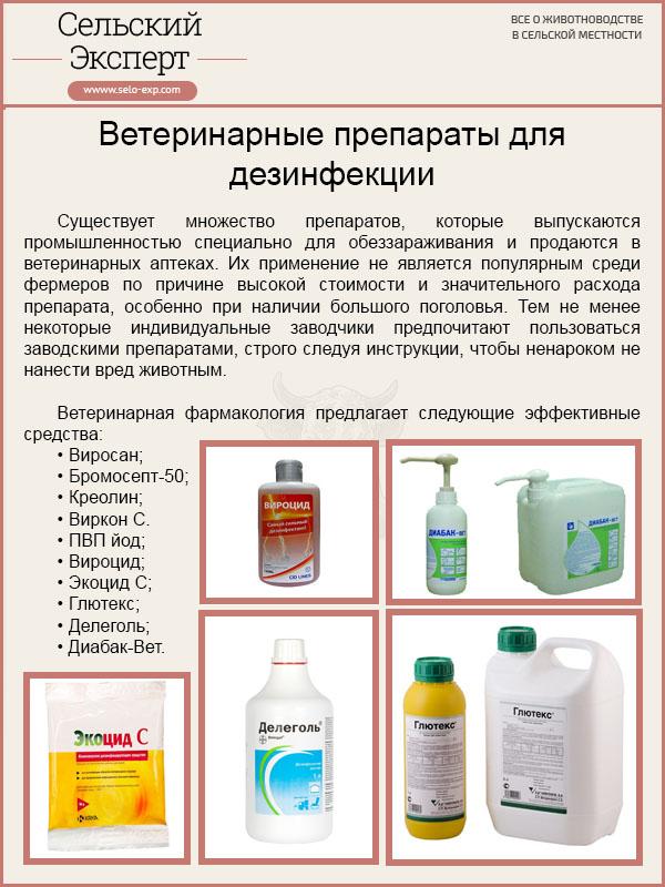 Ветеринарные препараты для дезинфекции